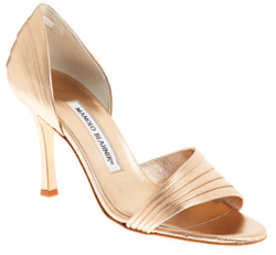Manolo Blahnik Kiry Gold Heels; Photo courtesy of Barneys.com