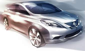 Nissan released a sketch of the next-generation Versa that is coming to the United States. (photo courtesy of Nissan)
