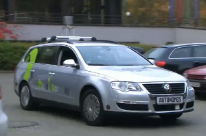 The AutoNOMOS Volkswagen. (Photo: Video clip screencap, YouTube.)