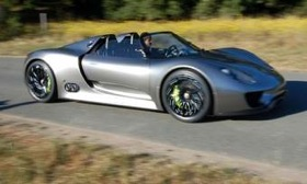 The Porsche 918 hybrid sports car is headed for production in three to four years. (Photo by Mark Vaughn.)