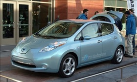The Nissan Leaf. (Photo by Perry Stern.)