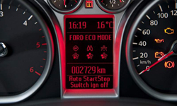 Drivers will see an indicator light when Ford's stop-start system is active. The automaker's European system is shown.