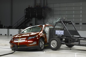 The Chevy Volt during a side-impact crash test. (Photo courtesy of the IIHS.)