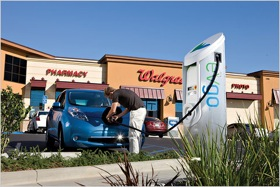 A charging station at Walgreens. (Photo from Walgreens, via Business Wire.)