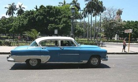 U.S. cars from the 1950s are a common sight on the roads in Cuba. (Photo: RONAN MCGRATH.)