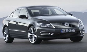 A restyled front fascia and new headlight designs mark the 2013 Volkswagen CC four-door. (Photo by VW.)