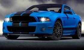 The supercharged V8 in the 2013 Ford Mustang Shelby GT500 is rated at 650 hp. (Photo by Ford.)