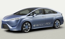 Toyota says the FCV-R fuel-cell sedan can travel up to 435 miles on a single tank of fuel. (Photo by Toyota.)