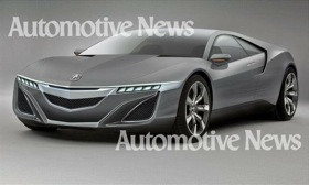 The Acura NSX supercar could be back in three years. A concept version of the Ferrari fighter will debut in Detroit next month with a compact V6 engine and a lithium-ion hybrid system. Journalists were given a glimpse of the car, which provided details for this artist's rendering. (Credit: CASEY SHAIN/ART AND COLOUR© Automotive News.)