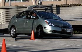 Google autonomous-driving Toyota Prius. Photo by Jurvetson/Flikr.
