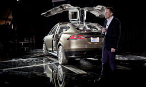 Elon Musk introduces the Tesla Model X crosser. (Photo taken by Davey G. Johnson)