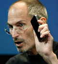 Credit: Apple CEO Steve Jobs holds up iPhone 4 as he talks about the Apple iPhone 4 at Apple headquarters in Cupertino, Calif., Friday, July 16, 2010 (&#169; Paul Sakuma/AP)
