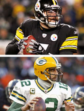 Credit: © Ronald Martinez/Getty Images; © Joe Robbins/Getty ImagesCaption: Top: Ben Roethlisberger #7 of the Pittsburgh Steelers; Bottom: Aaron Rodgers #12 of the Green Bay Packers