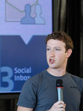 Credit:  Paul Sakuma/AP&#10;Caption: Facebook CEO Mark Zuckerberg talks about the new email service at an announcement in San Francisco, Monday, Nov. 15, 2010