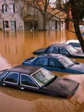Image: Parked cars partially submerged in flood water © Rich Iwasaki/Getty Images