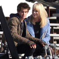Andrew Garfield and Emma Stone on the set of the new Spiderman film ©GSI/Barcroft media
