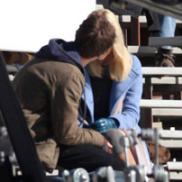 The two co-stars share a kiss on-set ©GSI/Barcroft media