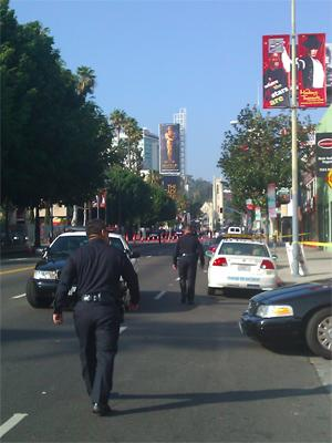 Blockades and the Kodak Theatre in the far distance