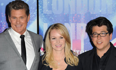 David Hasselhoff, Amanda Holden and Michael McIntyre (c) PA