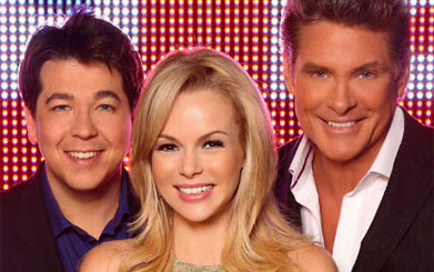 David Hasselhoff, Amanda Holden and Michael McIntyre (c) ITV