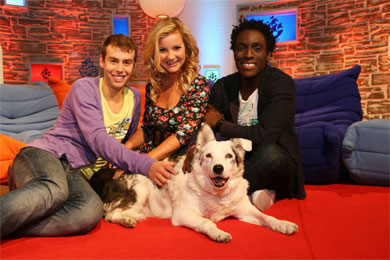Blue Peter's Helen Skelton, Barney Harwood and Andy Akinwolere (c) BBC