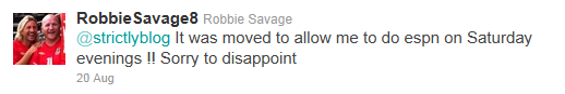 Robbie Savage tweet denying he'll be on Strictly Come Dancing 2011