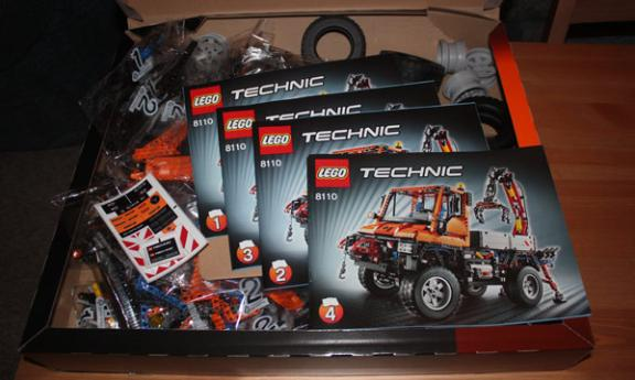 Lego Unimog box, bits and instructions