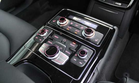 Audi A8 W12 backseat controls (c) Motoring Research