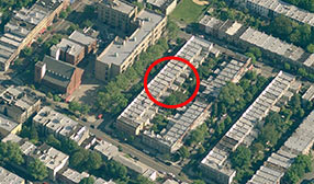 Aerial view of Brooklyn, New York, neighborhood containing 21 Howard Place (circled) (© 2011 NAVTEQ/2011 Microsoft Corp., Image courtesy of USGS)