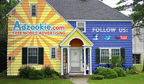 Want your mortgage paid by someone else? Adzookie is covering monthly payments for homeowners who are willing to have an ad painted on their house. (Courtesy of CNBC)