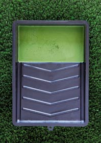 Paint tray with green paint on green grass (© Robbert Koene /Getty Images)