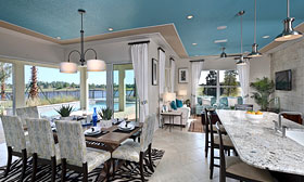 Kitchen and living area in Gen Y house connect to the outside in BUILDER Concept Home 2012. 