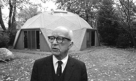 @AP R. Buckminster Fuller stands in front of his own Geodesic dome home in Carbondale, Illinois, 1971