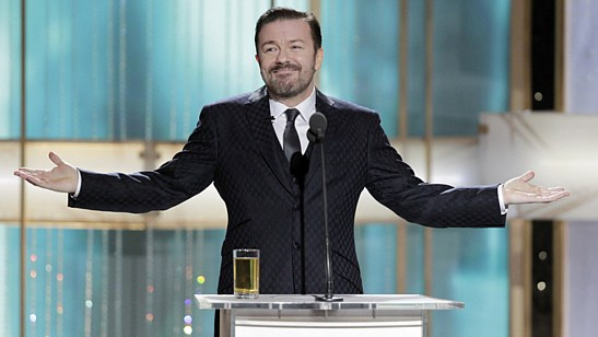 Gervais hosting last year's awards, in a Getty Images handout.