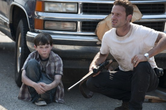 Chandler Riggs, Andrew Lincoln in The Walking Dead (Credit: AMC)