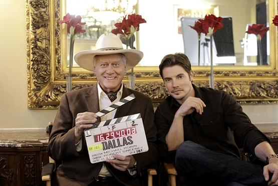 Original 'Dallas' star Larry Hagman with young gun Josh Henderson. (Credit: Zade Rosenthal)