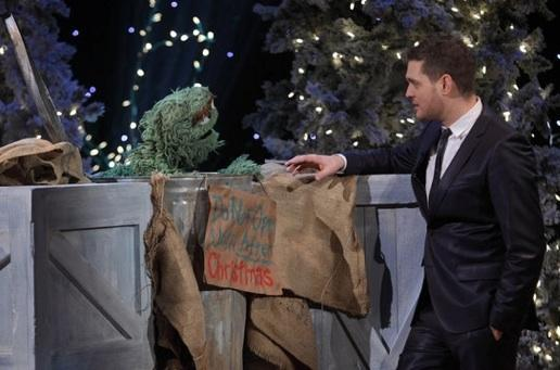 Who can be Grouchy on Christmas when Buble is in the building? (Credit: Eric Leibowitz/NBC)