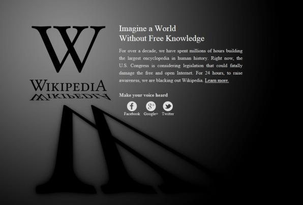 The English language version of Wikipedia is currently blacked out. (image &#169; Wikipedia)