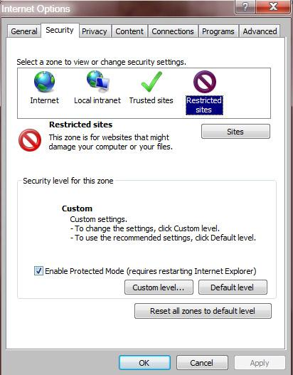 Internet options in IE9 (image © Microsoft)