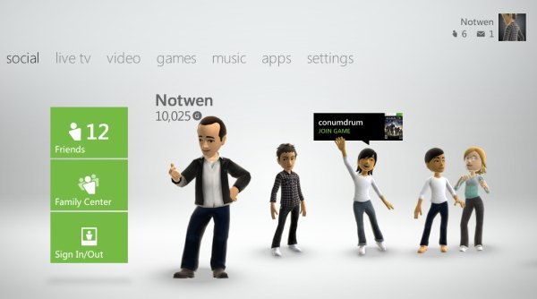 Register now for the Xbox 360 Fall 2011 dashboard update. Image Microsoft