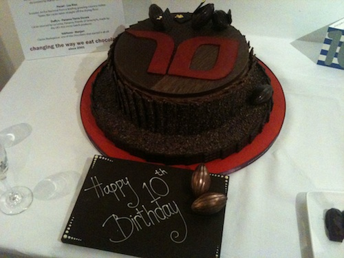 Paul A Young's chocolate birthday cake for Seventypercent's 10th anniversary.