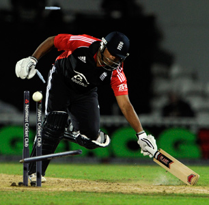 Samit Patel is run out