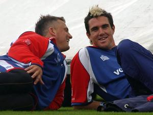 Goughie and KP share a joke (Chris Young-PA Archive)