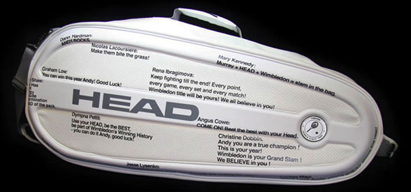 Andy Murray's Wimbledon racquet bag