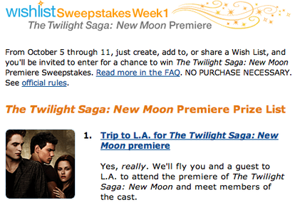 "Amazon's ""New Moon"" sweepstakes"