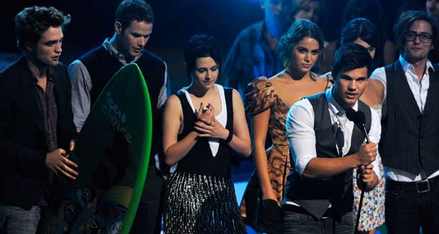 "The ""Twilight"" cast accepting Best Drama award at the TCAs."