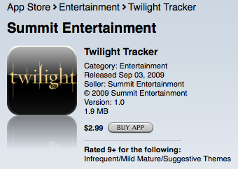 &quot;Twilight&quot; tracker on iTunes